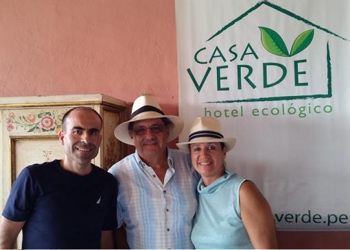 Javier Baz con Loayza y Norma Polti en Casa Verde Hotel Ecologico
